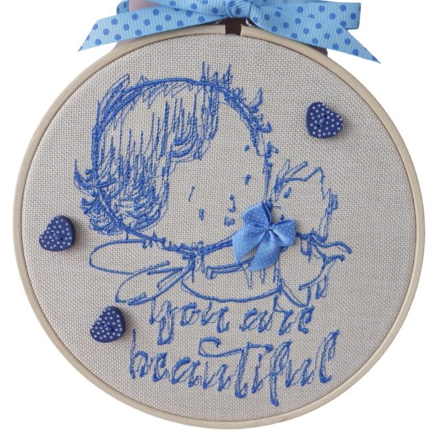Embroidered Hoop, Blue You Are Beautiful, Wall Hanging Decoration