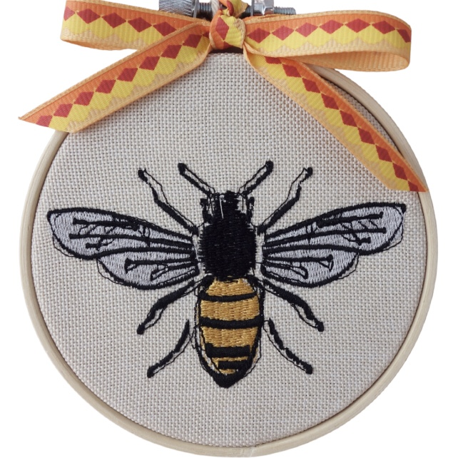 Embroidered Hoop, Bee, Wall Hanging Decoration