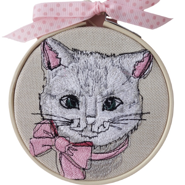 Embroidered Hoop, Pink Cat, Wall Hanging Decoration