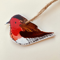 Handmade robin, hanging robin decoration, handpainted bird,ird lovers gift
