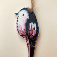 Long tailed tit, Handmade wooden bird decoration, bird lovers gift
