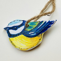 Hanging bird decoration, handmade wooden bluetit, bird lovers gift