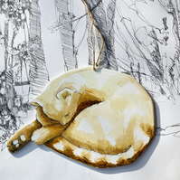 Sleeping ginger cat, handmade, handpainted cat, hanging cat decoration.