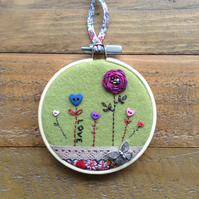 Button meadow embroidery hoop art