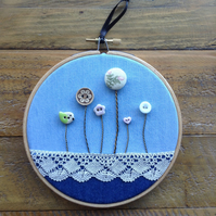 Button meadow embroidery hoop.