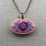Hand sewn mini hoop pendant necklace