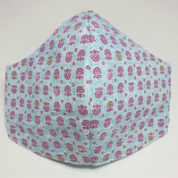 Reversible pretty print cotton face covering (adult small to medium size)