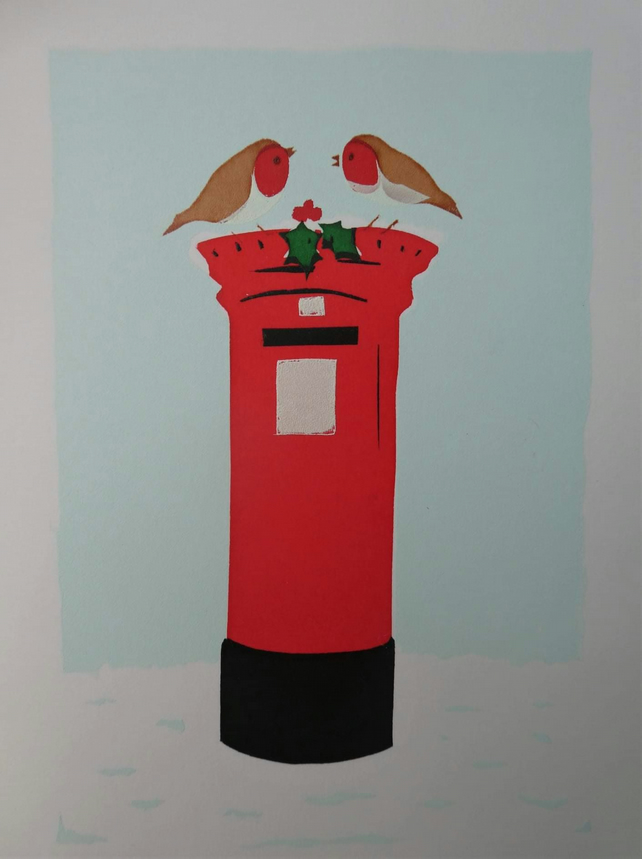 'Christmas Post' - Original Art Christmas Card