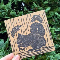 Hand printed lino print Squirrel card