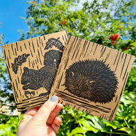 Hand printed lino print Squirrel card and Hedgehog card offer
