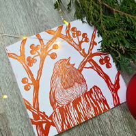 Hand printed linoprint Robin Christmas card