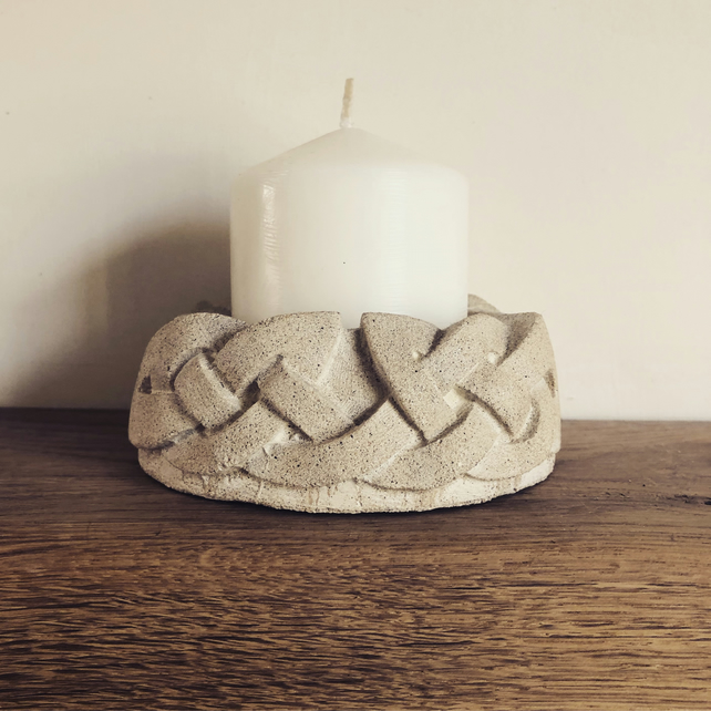 Celtic Knotwork Sandstone Candle Base Holder