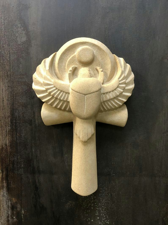 Ancient Egyptian Winged Scarab Ankh Sandstone Wall Sculpture