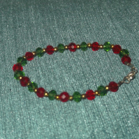 Red and Green Christmas Rondelle Bracelet