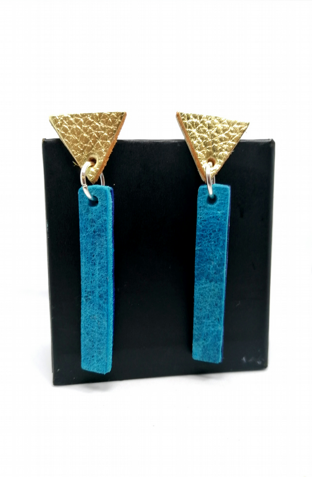 Colour Pop Leather Earrings - Turquoise & Gold