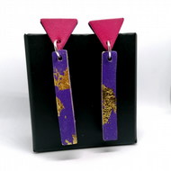 Colour Drop Bar Leather Earrings - Purple, Gold leaf & Pink