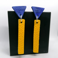 Colour Drop Bar Leather Earrings - Yellow & Blue