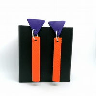 Colour Drop Bar Leather Earrings - Orange & Purple