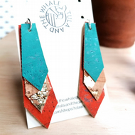 Cork Leather Shard Earrings - Vegan - Aqua & Orange