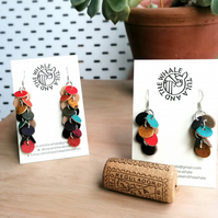 Cork Leather Earrings - Disco Short Drops - Rainbow