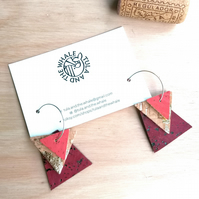 Cork Geometric Hoop Earrings - Vegan Leather - Sterling Silver