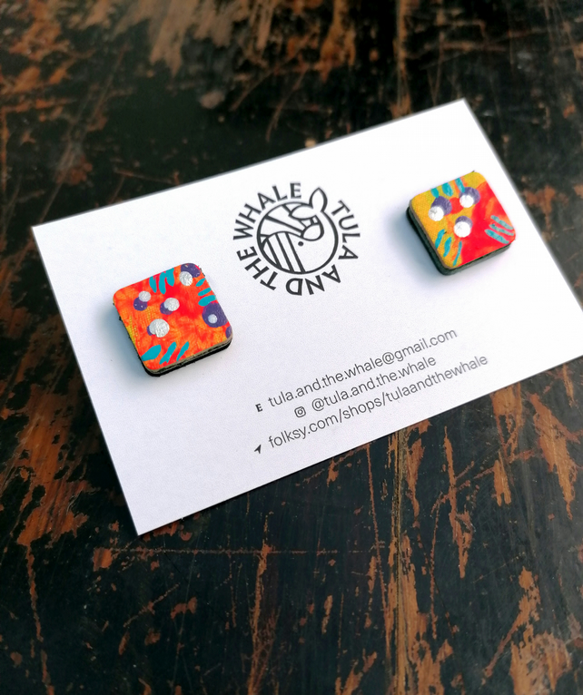 Handpainted Graffiti Leather Stud Earrings