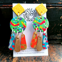 Handpainted Graffiti Statement Earrings