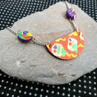 Handpainted Graffiti Leather Necklace