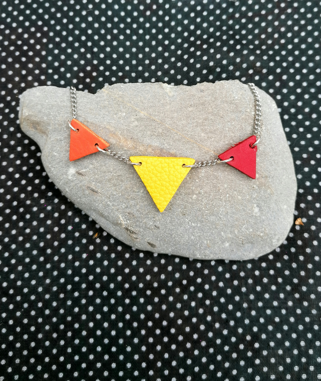 Trilogy Leather Necklace - Colourful Geometric Jewellery