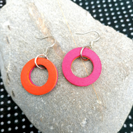 Mini Colour Duo Leather Hoop Earrings - Pink & Orange, Sterling Silver