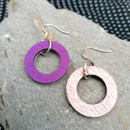 Mini Colour Duo Leather Hoop Earrings - Rose Gold & Violet, Sterling Silver