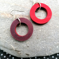 Mini Colour Duo Leather Hoop Earrings - Red & Burgundy, Sterling Silver