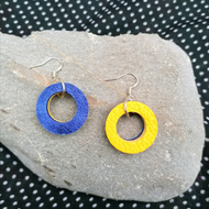 Mini Colour Duo Leather Hoop Earrings - Dark Blue & Yellow, Sterling Silver