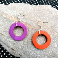 Mini Colour Duo Leather Hoop Earrings - Violet & Orange, Sterling Silver