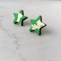 Gold Leaf Leather Star Stud Earrings - Emerald