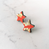 Gold Leaf Leather Star Stud Earrings - Orange