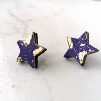 Gold Leaf Leather Star Stud Earrings - Purple