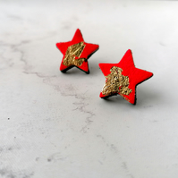 Gold Leaf Leather Star Stud Earrings - Rio Red