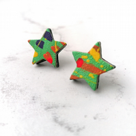 Handpainted Graffiti Leather Star Stud Earrings - Green