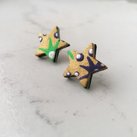 Handpainted Graffiti Leather Star Stud Earrings - Gold