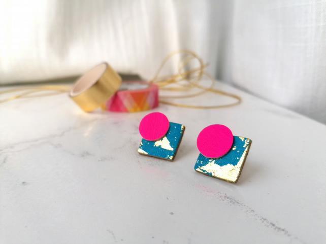 Statement Stud Leather Earrings - Hot Pink, Turquoise & Gold Leaf