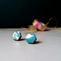 Hexagon Stud Earrings - Repurposed Leather - Turquoise