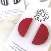 Semi Circle Statement Studs - Red