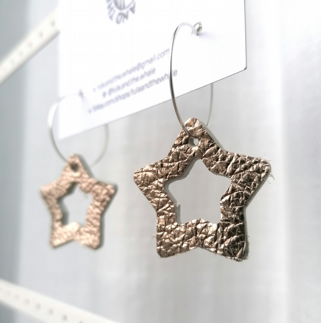 Star Hoop Leather Earrings - Rose Gold & Silver