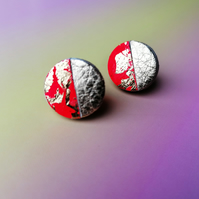 Dual Colour Round Studs - Rio Red & Gold