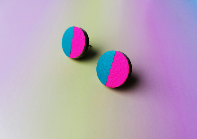 Dual Colour Round Studs - Turquoise & Neon Pink
