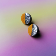 Dual Colour Round Studs - Yellow & Silver