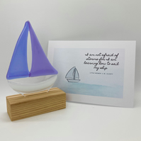 Fused Glass Boat - Purple