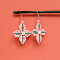 Pink flower handmade earrings, multicolour, dangle earrings (Pink Magnolia)