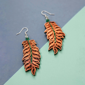 Boho chic leaf earrings, autumn earrings, statement, colourful (Autumn leaves)